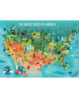 Puzzle Cobble Hill - The United States of America, 350 piese XXL (Cobble-Hill-54622)