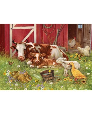 Puzzle Cobble Hill - Barnyard Babies, 350 piese XXL (Cobble-Hill-54630)