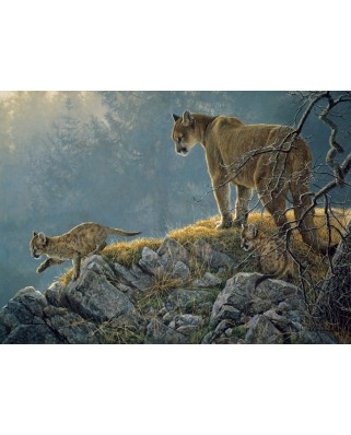 Puzzle Cobble Hill - Excursion: Cougar and Kits, 350 piese XXL (Cobble-Hill-54635)