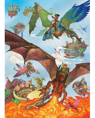 Puzzle Cobble Hill - Dragon Flight, 350 piese XXL (Cobble-Hill-54636)