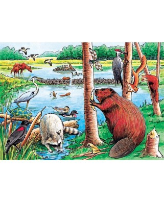 Puzzle Cobble Hill - Beaver Pond Tray Puzzle, 35 piese (Cobble-Hill-58802)