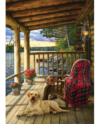 Puzzle Cobble Hill - Lake Cabin Labrador, 35 piese (Cobble-Hill-58887)
