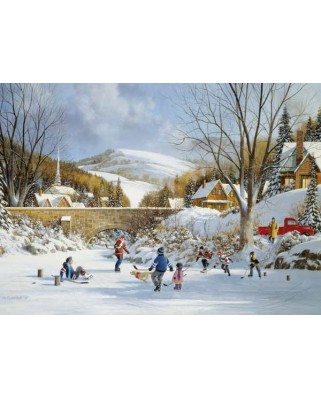 Puzzle Cobble Hill - Hockey on Frozen Lake, 1.000 piese (Cobble-Hill-80059)