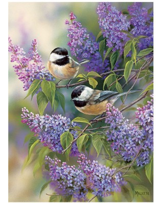 Puzzle Cobble Hill - Chickadees and Lilacs, 1.000 piese (Cobble-Hill-80112)