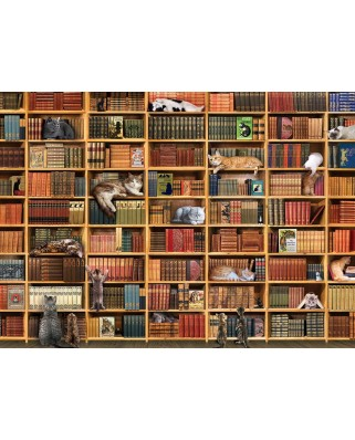 Puzzle Cobble Hill - The Cat Library, 1000 piese (Cobble-Hill-80216)