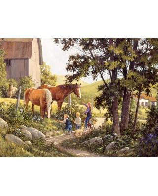 Puzzle Cobble Hill - Summer Horses, 500 piese XXL (Cobble-Hill-85038)