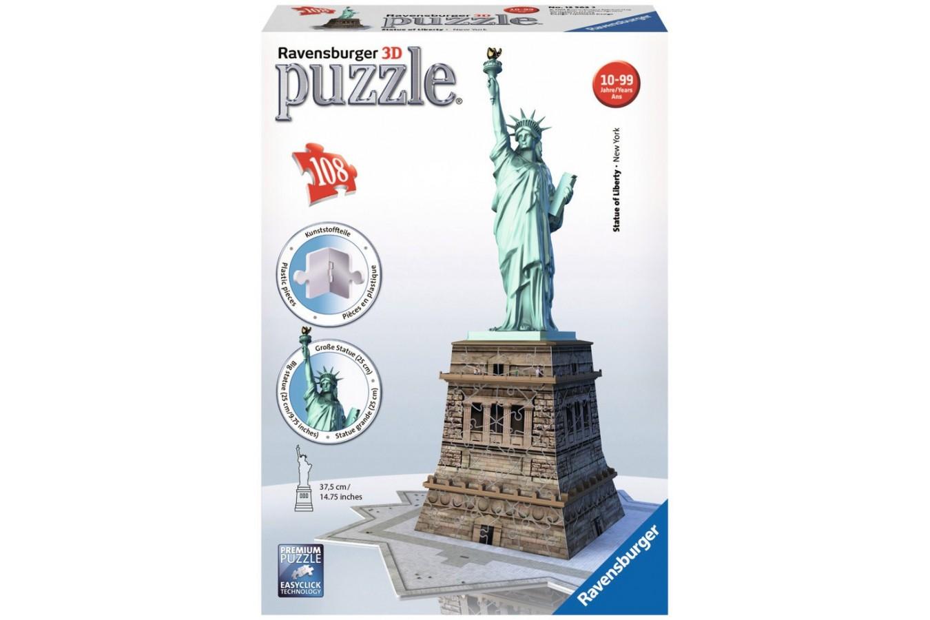 Puzzle 3D Ravensburger - Statuia Libertatii, 180 piese (12584)