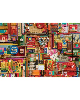 Puzzle Cobble Hill - Vintage Art Supplies, 2.000 piese (Cobble-Hill-89009)