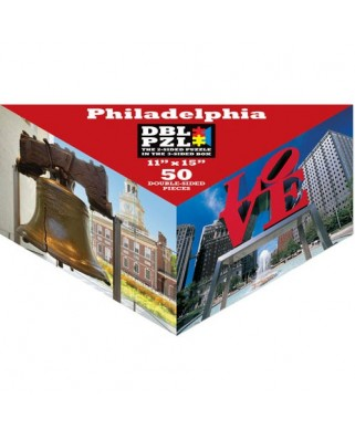 Puzzle Pigmen & Hue - Philadelphia, 50 piese fata/verso (Pigment-and-Hue-DBLPHL-00817)