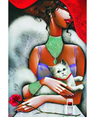 Puzzle Gold Puzzle - Lady with a Cat, 1.000 piese (Gold-Puzzle-61284)