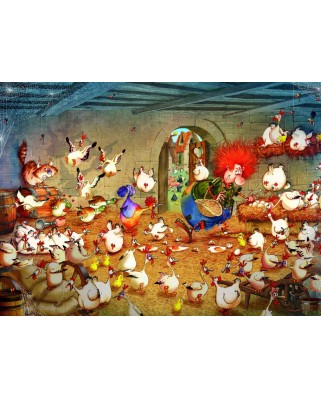 Puzzle Grafika Kids - Francois Ruyer: Crazy Chicken Coop, 300 piese (Grafika-Kids-02118)