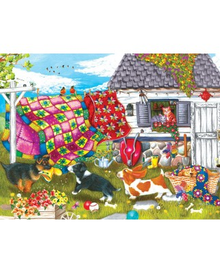 Puzzle SunsOut - Backyard Pups, 500 piese (Sunsout-11255)