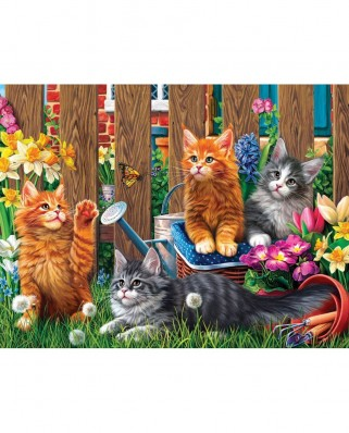 Puzzle SunsOut - Kittens in the Garden, 300 piese (Sunsout-42914)