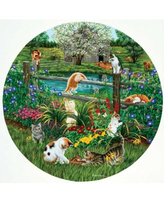 Puzzle rotund SunsOut - Cats at Play, 500 piese (Sunsout-45876)