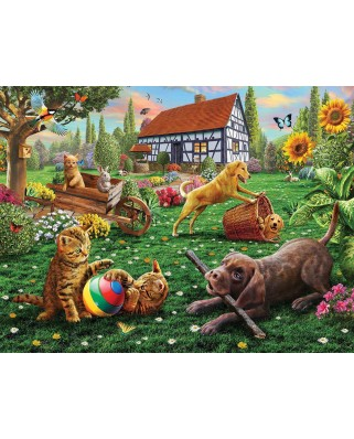Puzzle SunsOut - Dogs and Cats at Play, 500 piese (Sunsout-51836)