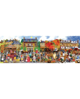 Puzzle panoramic SunsOut - Victorian Main Street, 500 piese (Sunsout-52433)