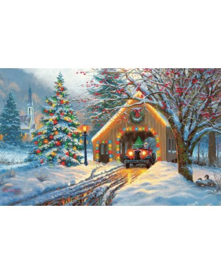 Puzzle SunsOut - Covered Bridge at Christmas, 300 piese (Sunsout-53015)