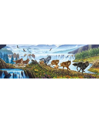Puzzle panoramic SunsOut - Wolves on the Run, 500 piese (Sunsout-57356)