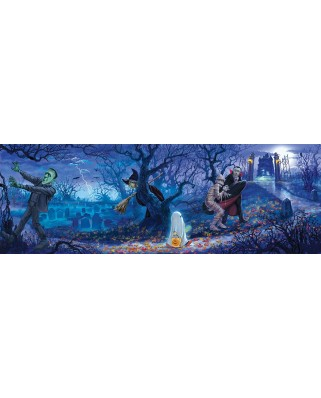Puzzle panoramic SunsOut - Halloween Scene, 500 piese (Sunsout-59199)