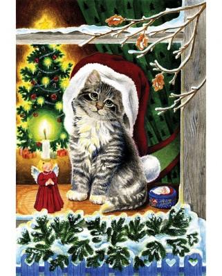 Puzzle SunsOut - A Christmas Kitten, 300 piese (Sunsout-61542)