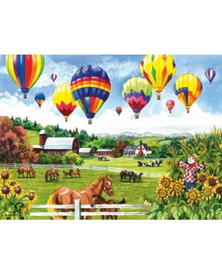 Puzzle SunsOut - Balloons over Fields, 500 piese (Sunsout-62967)