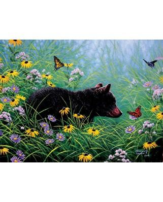 Puzzle SunsOut - Black Bear and Butterflies, 500 piese (Sunsout-69601)