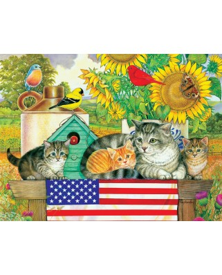 Puzzle SunsOut - Patriotic Kittens, 300 piese (Sunsout-71988)