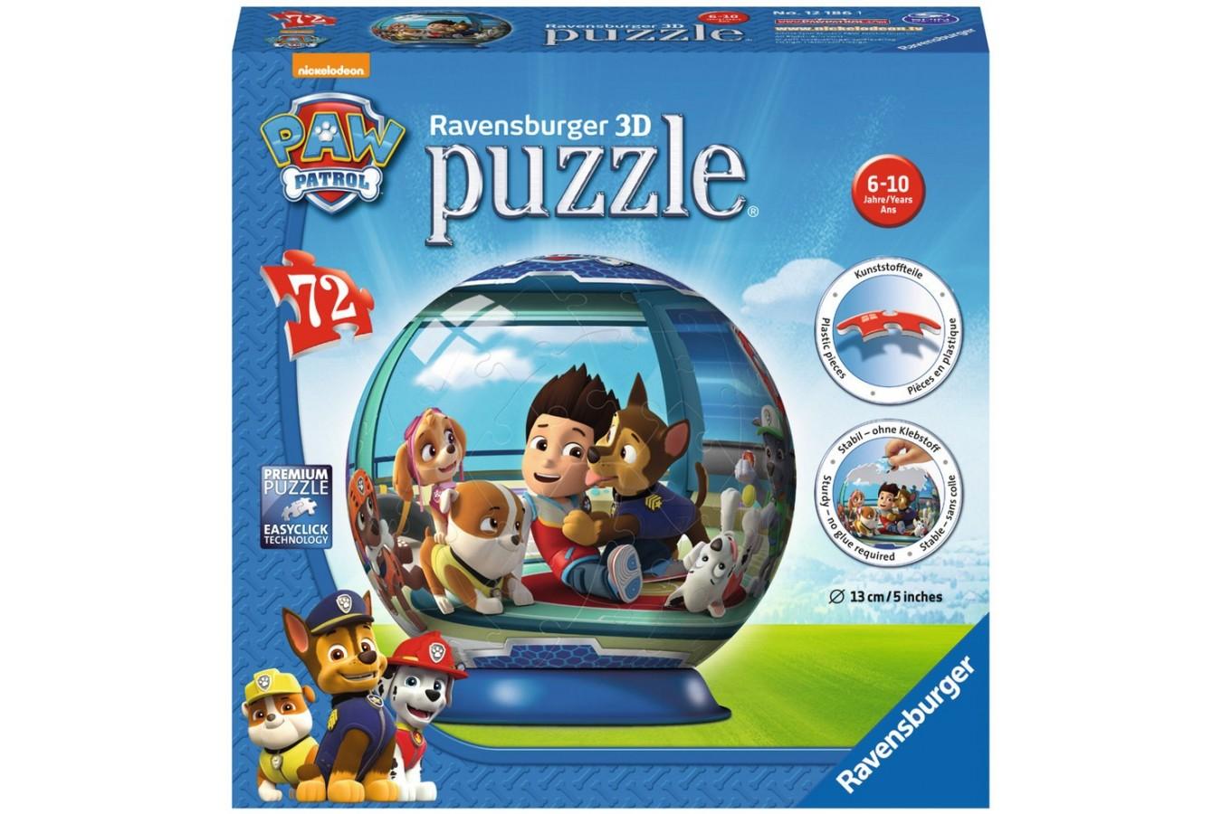 Puzzle glob Ravensburger - Paw Patrol, 72 piese (12186)