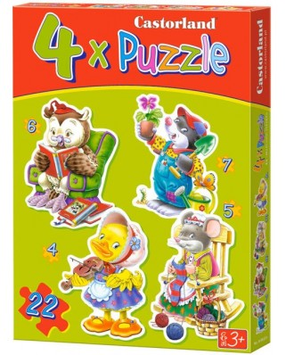 Puzzle Castorland - Playing Animals, 4/5/6/7 piese (04102)