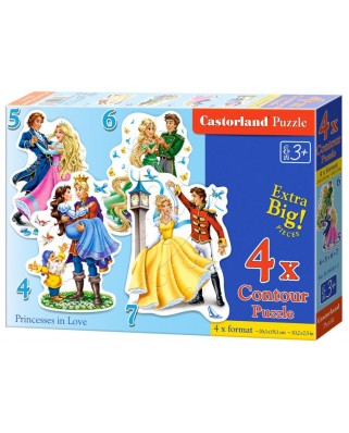 Puzzle Castorland - Princesses in Love, 4/5/6/7 piese (04256)