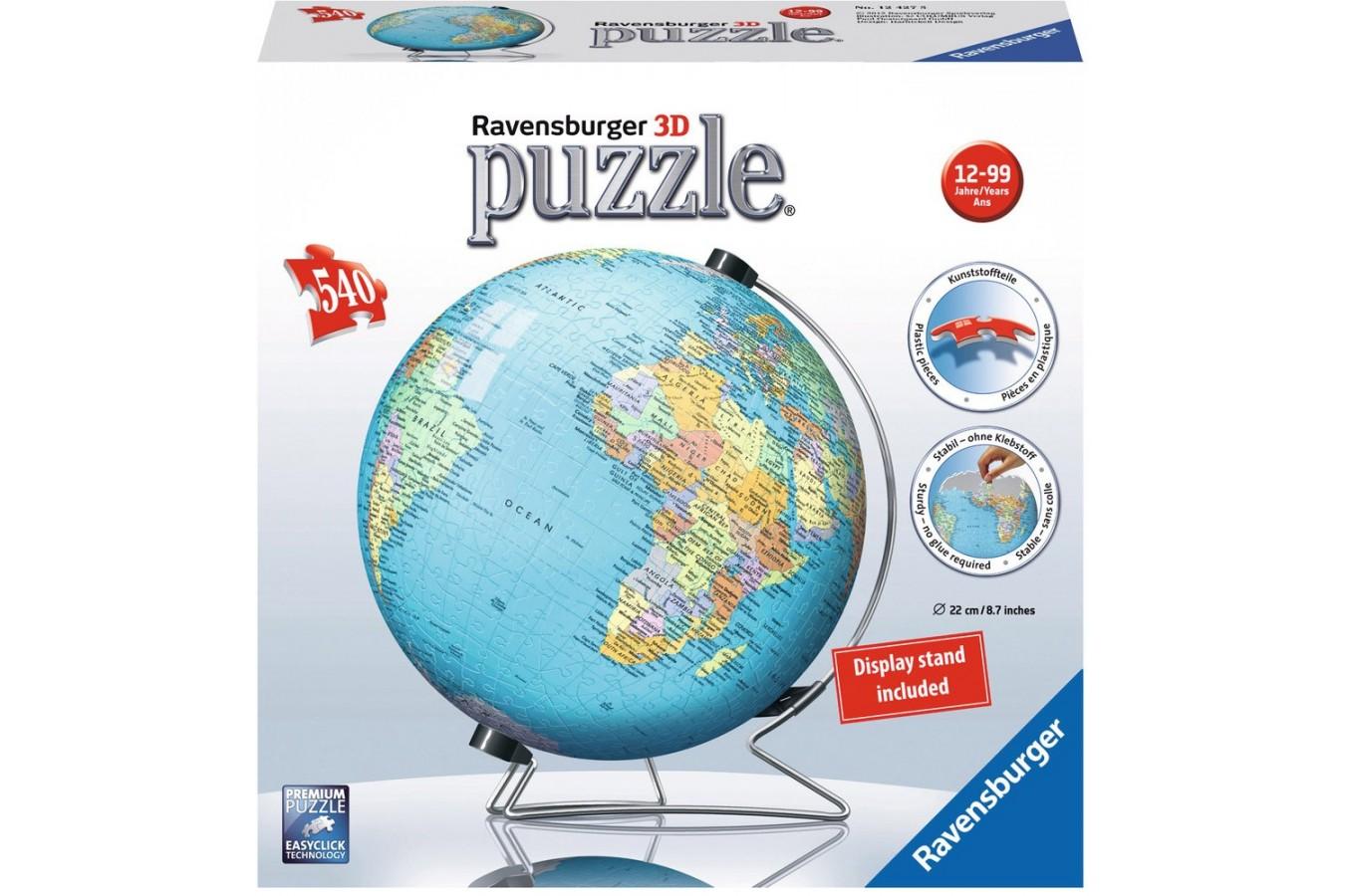 Puzzle glob Ravensburger - Globul Lumii, 540 piese (12427)