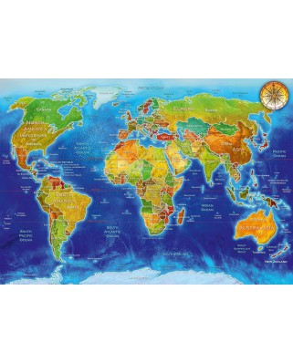 Puzzle Bluebird - Adrian Chesterman: World Geo-Political Map, 1.000 piese (70337-P)