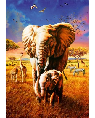 Puzzle Bluebird - Adrian Chesterman: Elephant, 1.000 piese (70314-P)