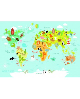 Puzzle Bluebird - World Map for Kids, 150 piese (70357)