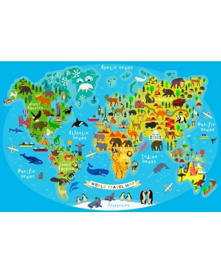 Puzzle Bluebird - World Travel Map, 260 piese (70378)