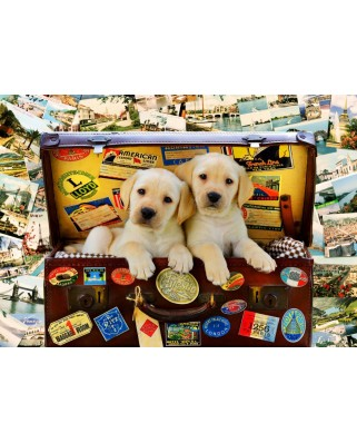 Puzzle Bluebird - Two Travel Puppies, 100 piese (70398)