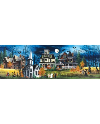 Puzzle panoramic SunsOut - Spooky Lane, 500 piese XXL (32754)