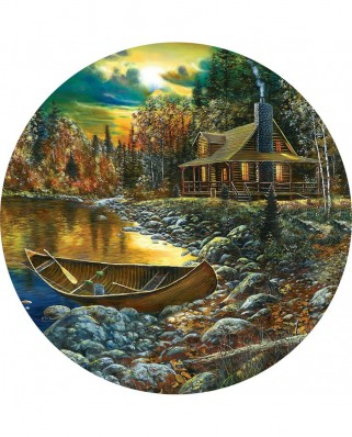 Puzzle rotund SunsOut - Jim Hansel: Fall Cabin, 500 piese (74106)