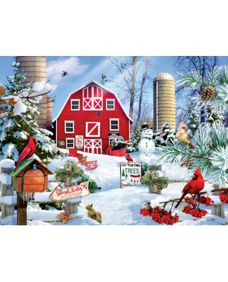 Puzzle SunsOut - A Snowy Day on the Farm, 300 piese XXL (35013)