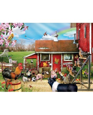 Puzzle SunsOut - Barnyard Soccer, 300 piese XXL (35068)
