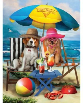 Puzzle SunsOut - Beach Dogs, 300 piese XXL (Sunsout-28884)