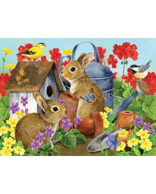 Puzzle SunsOut - Bunnies and Birdhouses, 500 piese XXL (16012)