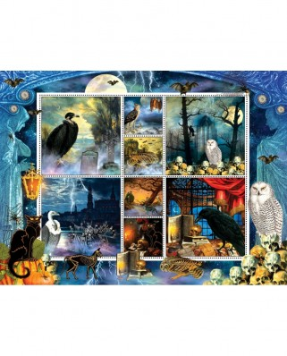 Puzzle SunsOut - Halloween Stamps Spooky, 1000 piese (Sunsout-55926)