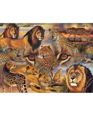 Puzzle SunsOut - Janet Stever: Big Cats of the Plains, 500 piese (Sunsout-70934)