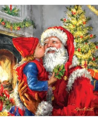Puzzle SunsOut - Kissing Santa, 500 piese XXL (Sunsout-60662)