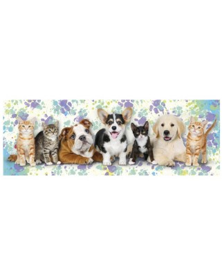 Puzzle panoramic Dino - Dogs & Cats, 150 piese (39327)