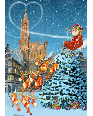 Puzzle Grafika - Francois Ruyer: Strasbourg Cathedral at Christmas, 500 piese (T-00943)
