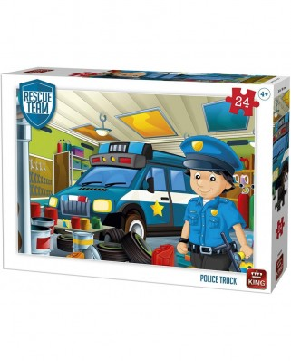 Puzzle King International - Rescue Team - Police Truck, 24 piese (55838)