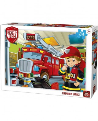 Puzzle King International - Rescue Team - Fireman in Garage, 24 piese (55839)