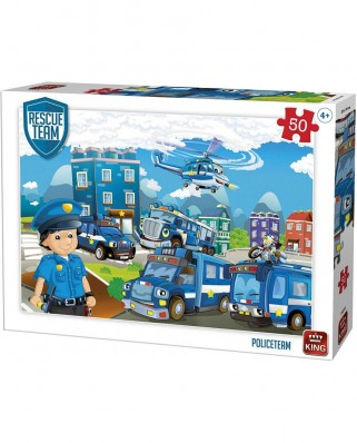 Puzzle King International - Rescue Team - Police Team, 50 piese (55840)